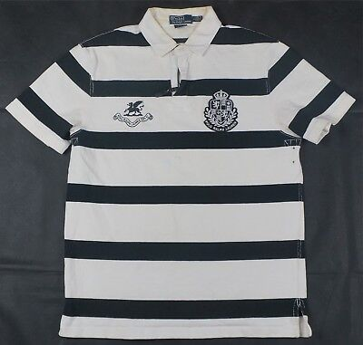 Rare Vintage POLO RALPH LAUREN Spell Out EST 67 Griffin Shield Rugby Shirt 90s L Griffin Rugby