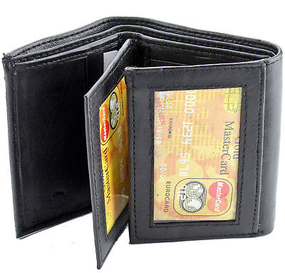 New Mens Black Leather Trifold Wallet ID Window Credit Card Case ID Holder Purse
