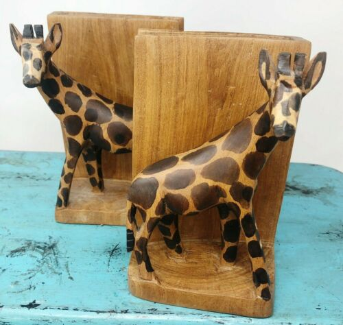 "Giraffe Handmade Kenya Wood Hand Carved Bookends 6"" x 4"" Safari Africa Vintage"