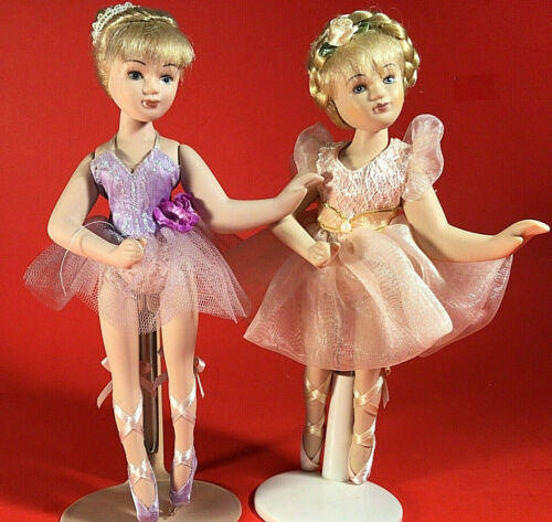 """PORCELAIN BALLERINA FIGURINES DANCING LOT OF 2 BISQUE 8""""H MOVABLE LIMBS"""