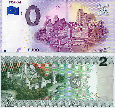 0 Euro-Schein Souvenir Trakai 2018 +   2 Litai Litauen 1993 P 54a UNC