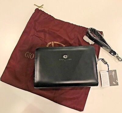 NEW with Tag Giovanni Valentino men's clutch bag Black Leather Made in (Valentino Mens Bag)