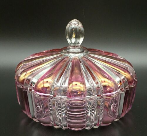 PINK & CLEAR STRIPED COVERED GLASS CANDY DISH ANCHOR HOCKING 1930s or 1950s