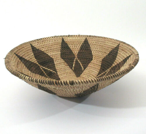 """Vtg African Woven Coiled Coil Weave Pattern Natural Basket Bowl Tribal 12"""" x 4"""""""