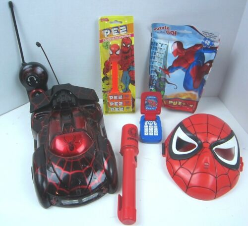 Marvel Spiderman Lot of 6 Remote control car Mask Puzzle Pez Cellphone Light