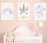 Unicorn Personalised Name Nursery Prints Set Baby Girl Bedroom Art of 3 Pictures