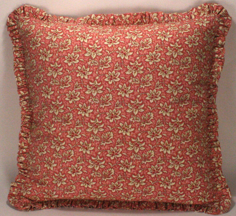 "2 18"" Pink and Cream Floral Designer Throw Pillows with Ruffle"