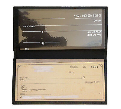 Black Genuine Leather Plain Checkbook Cover Long Men Lady's Wallet
