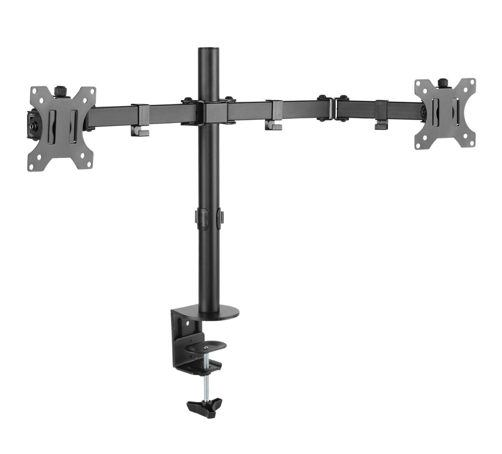 Dual Monitor Schwenkarm Tisch Halterung Doppel Halter 2x 8KG Office-414