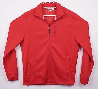 Puma Ferrari Men's Sz Large Racing Solid Red Logo Full Zip Track Jacket