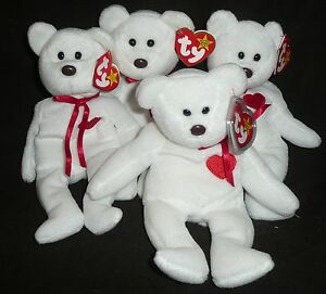 JOB LOT OF 4 TY VALENTINO BEANIE BABIES TEDDY BEARS - VALENTINES DAY - NEW/TAG