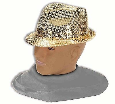 SEQUIN FEDORA-GOLD Club Dazzle Hat Flappers Gangsters Costume      H2 - Sequin Fedora