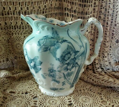 DAFFODIL PITCHER ANTIQUE FURNIVALS Spring LARGE Transferware TURQUOISE BLUE
