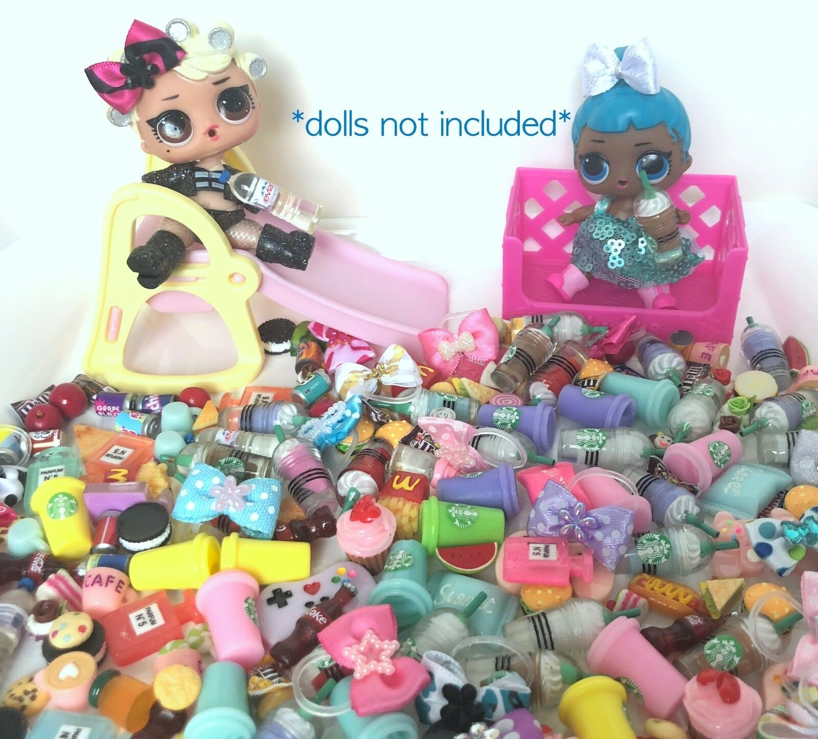 ❤️ LOL SURPRISE * 6 PC Lot * CUSTOM Bow Doll Accessories Food Starbucks ❤️