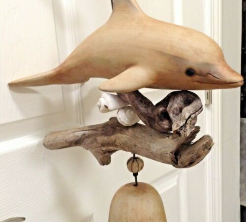 CARVED WOOD  DOLPHIN FIGURINE WIND CHIME