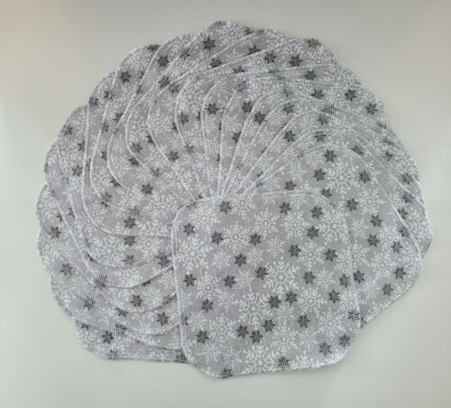 """Cloth Wipes 20 Baby Flannel 8""""x8"""" Boy Girl Adult Winter Snowflakes Grey White"""