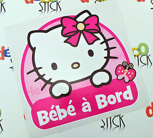 sticker b b bord hello kitty naissance cadeau auto autocollant enfant neuf ebay. Black Bedroom Furniture Sets. Home Design Ideas