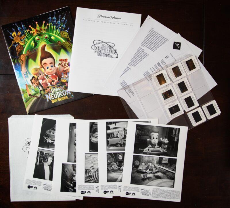 """Jimmy Neutron: Boy Genius"" (2001) press kit - photos, slides, info"