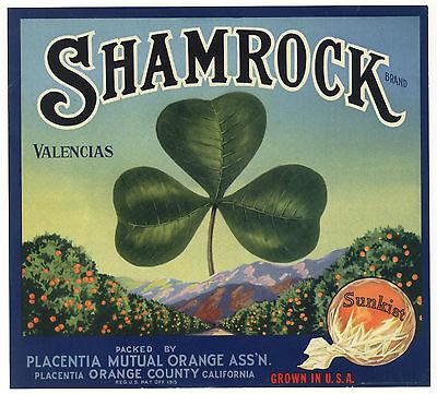 *Original* SHAMROCK Good Luck LUCKY Clover Orange Crate Label NOT A COPY!