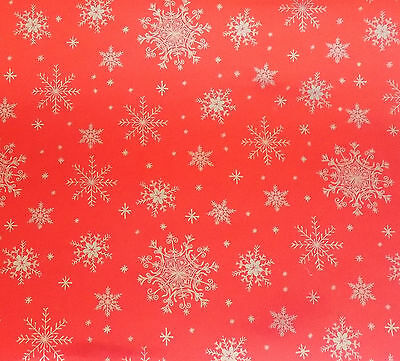 Current Silver Snowflakes on Red Foil Wrapping Paper  **FREE - Silver Wrapping Paper