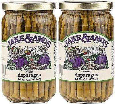 LOT of 2 Jars! Jake & Amos Pickled Asparagus PA Dutch Amish 16oz FREE SHIP!