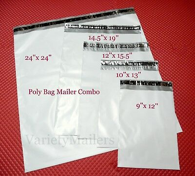 100 Poly Envelope Assortment 5 Sizes Medium To Large Self-sealing Mailers