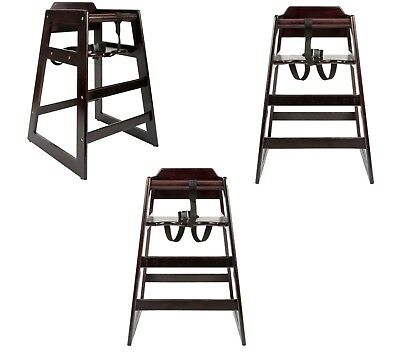 3 PACK Stacking Restaurant Commercial Wood High Chair Dark Stackable Chairs -
