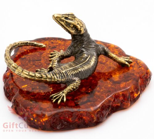 Solid Brass Amber Figurine of Lizard Talisman IronWork