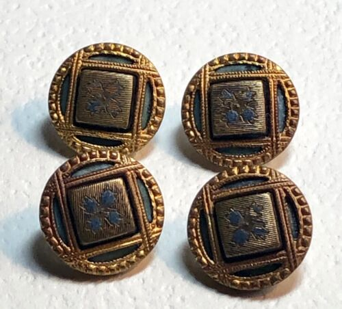 4 Victorian Metal Picture Buttons - Square in a Circle Design
