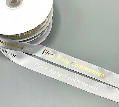 First Communion Ribbon (First Holy Communion Ribbon - 6mm and 20mm - Gold or Silver Print on White)