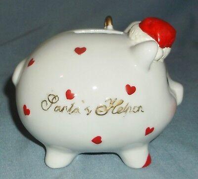 Vintage Porcelain Santa's Helper Piggy Pig Coin Bank w/ Hat Christmas Decor