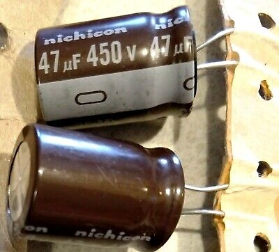 2 Pieces 47uf Nichicon 450v 105c - Csm Great For Tube Amps