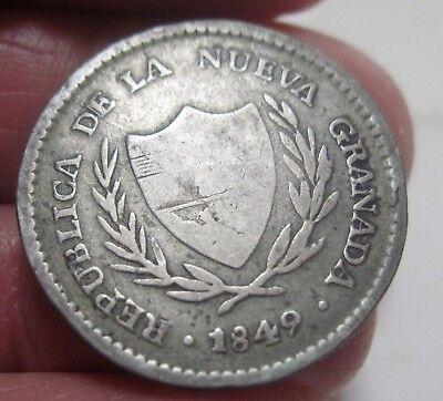 1849  Colombia  2 Reales  Silver  Republic Of Nueva Granada  Nice