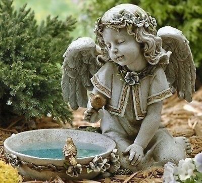 "11"" Solar Seated Angel Bird Bath Outdoor Garden Statue Joseph's Studio # 62852"