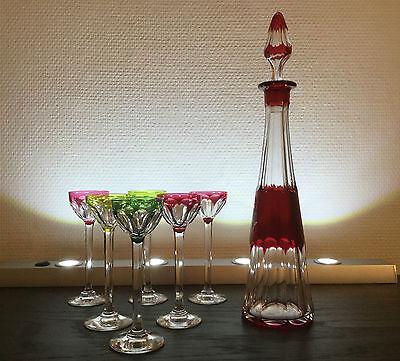 """VSL - Carafe à liqueur et ses six verres - """"cotes plates"""""""