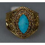 Estate 14K Gold Vintage Baby Blue Turquoise Filigree Ring Sz 9.5