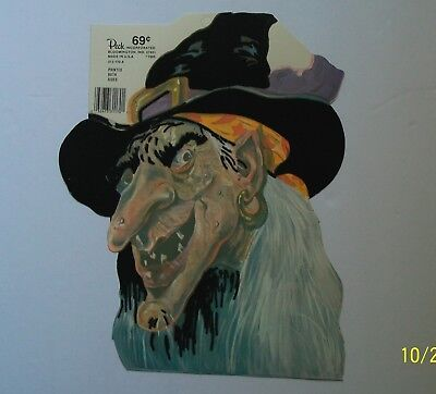 Halloween 1988 (Peck Halloween Witch Cutout Flocked Two-Sided 1988)