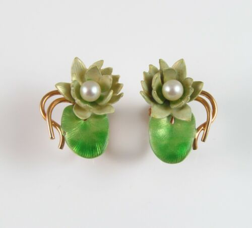 Antique 14k Gold Krementz & Co Enamel Art Nouveau Pearl Lotus Lily Pad Earrings