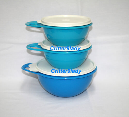 NEW Tupperware Lot of 3 Classic Thatsa Nesting Mini and Extra Mini Bowls BLue
