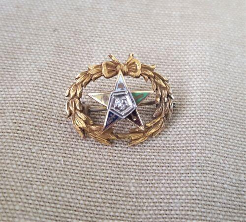 Vintage Eastern Star Pin - diamond and enamel