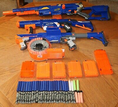 NERF 3 Gun Lot N-Strike Raider CS-35/Retaliator/Long Strike CS-6/ with Darts