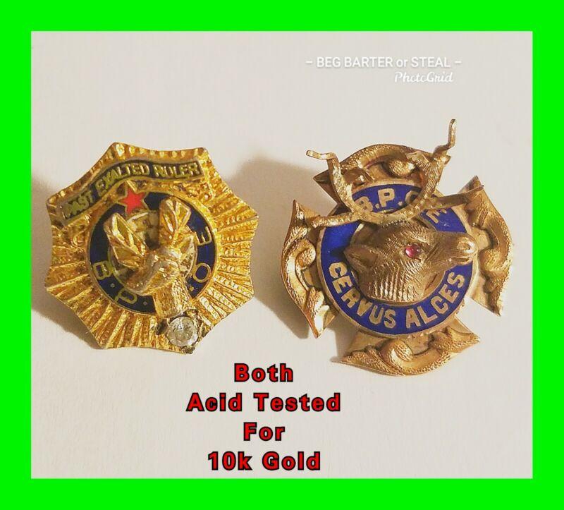 2x 10k Gold Vintage Benevolent & Protective Order of the Elks - B.P.O.E. Pins