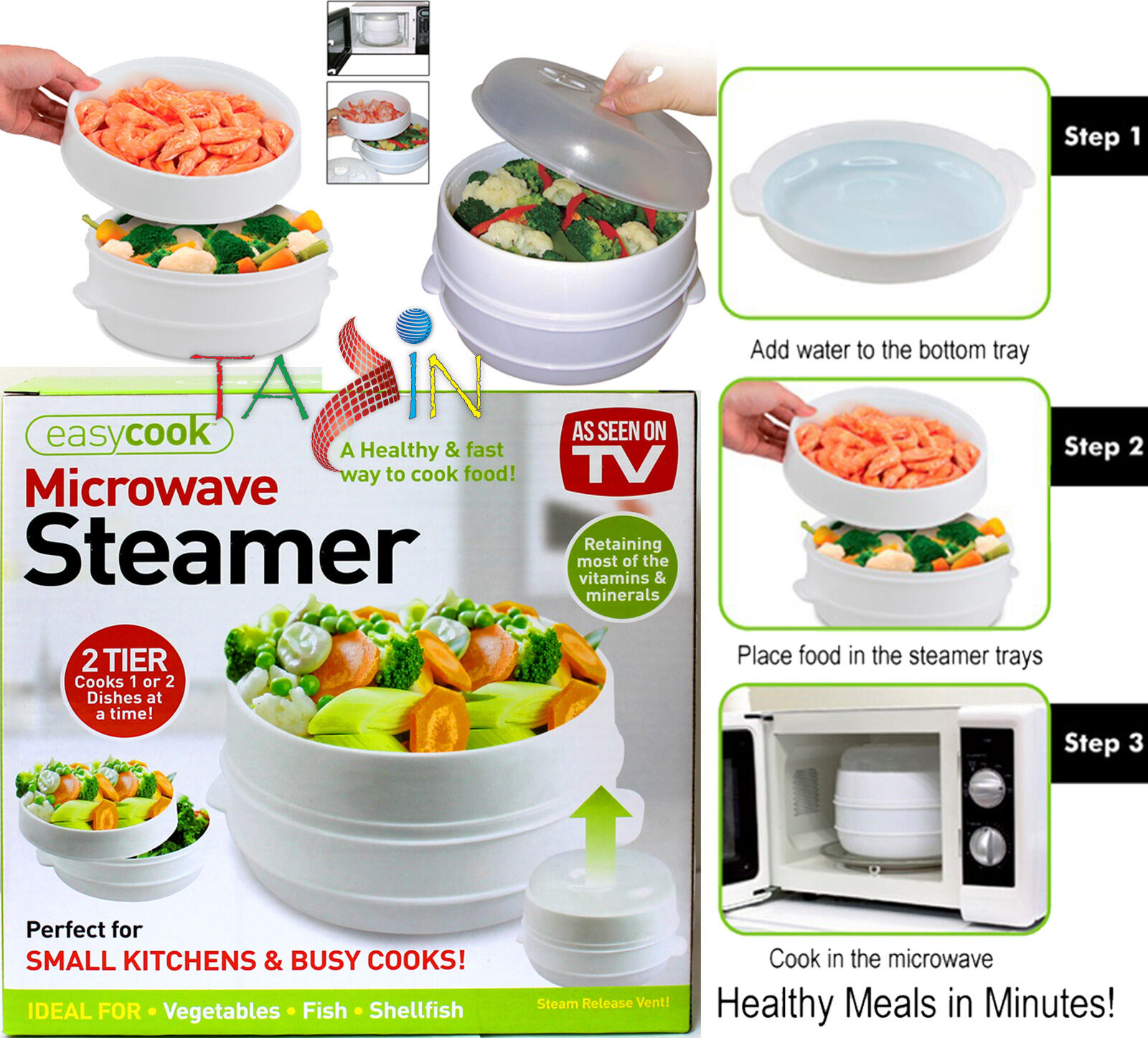 Microwave steamer 2 tier cooker vegetable fish pasta for Cooking fish in microwave