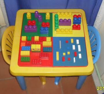 Kids table and 2  chairs with lego table top and Blocks