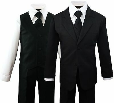 Formal Kids Toddler Boys Suit 5 pieces Set with Vest and Tie Size 2T-14