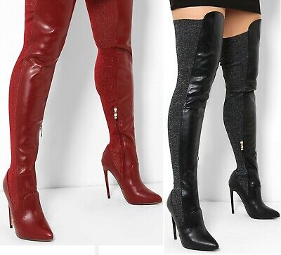 WOMENS BLACK RED OVER THE KNEE STRETCHY - Womens Red Knee High Boots