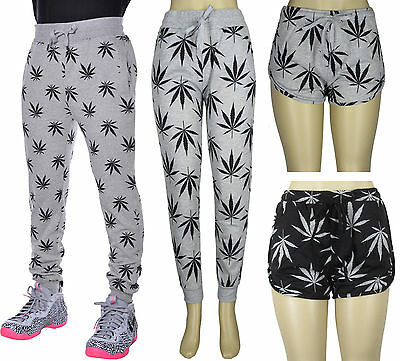Men Women Weed Marijuana Pot Leaf Smoke Casual Jogging Pants and Track Shorts Clothing, Shoes & Accessories