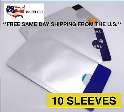 10 RFID Blocking Sleeve Protector Credit Card Secure Shields for ID ATM Card