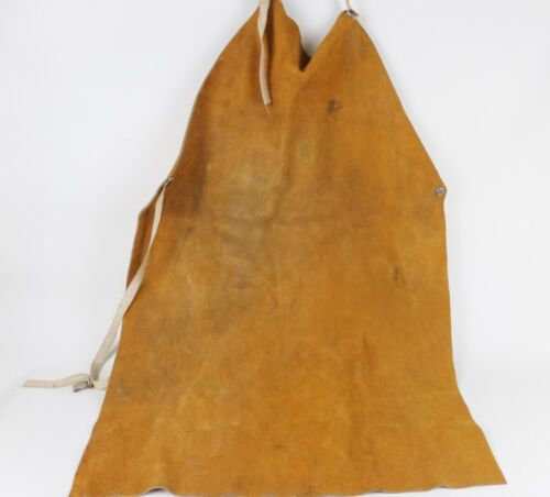 Vintage Welding Apron Leather Suede OKI Comfort Line Distressed Full Length Bib