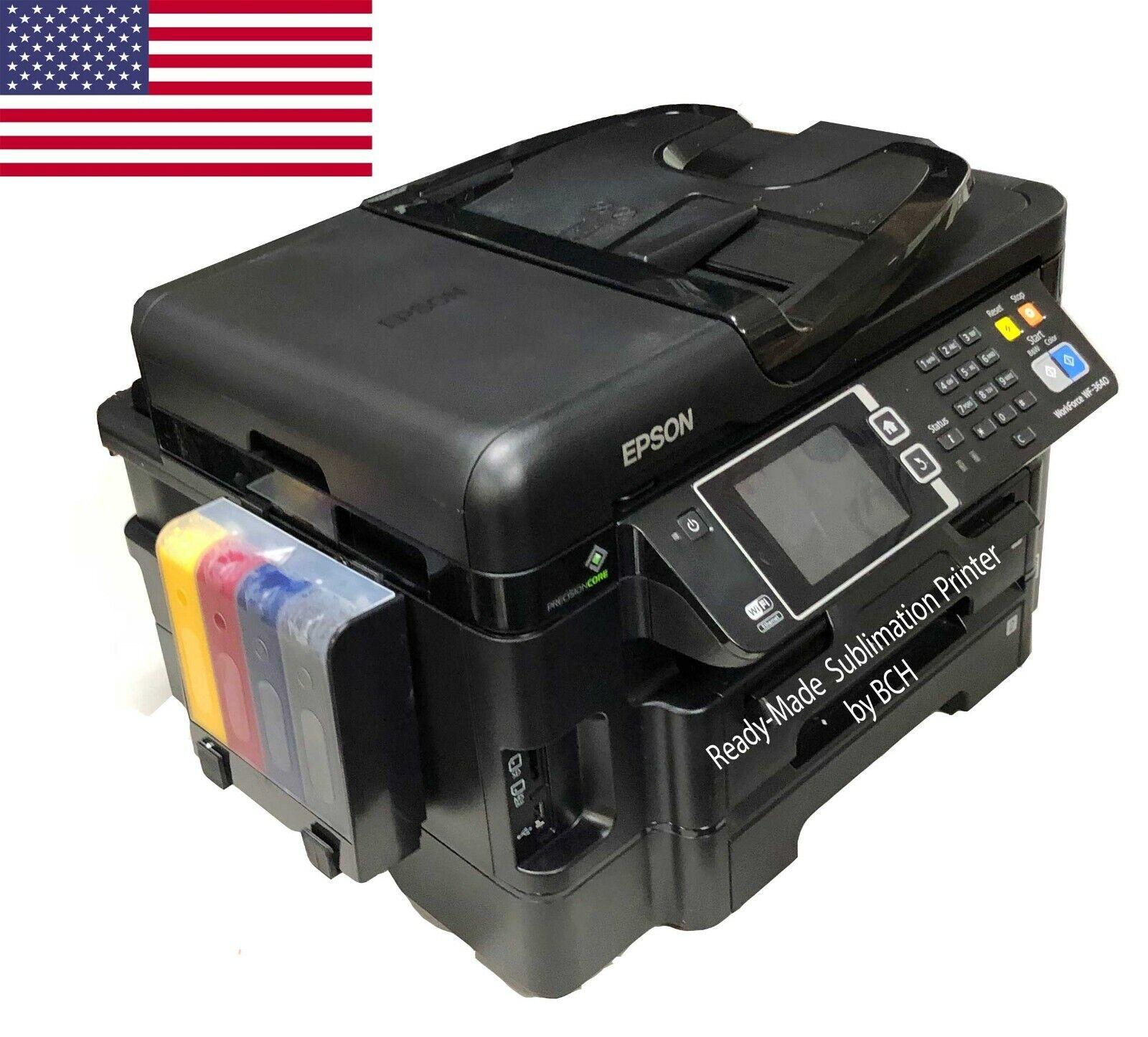 Photo Epson WF-3640 Sublimation Printer Bundle Pre-Installed Zero Cartridge™ CIS w ARC